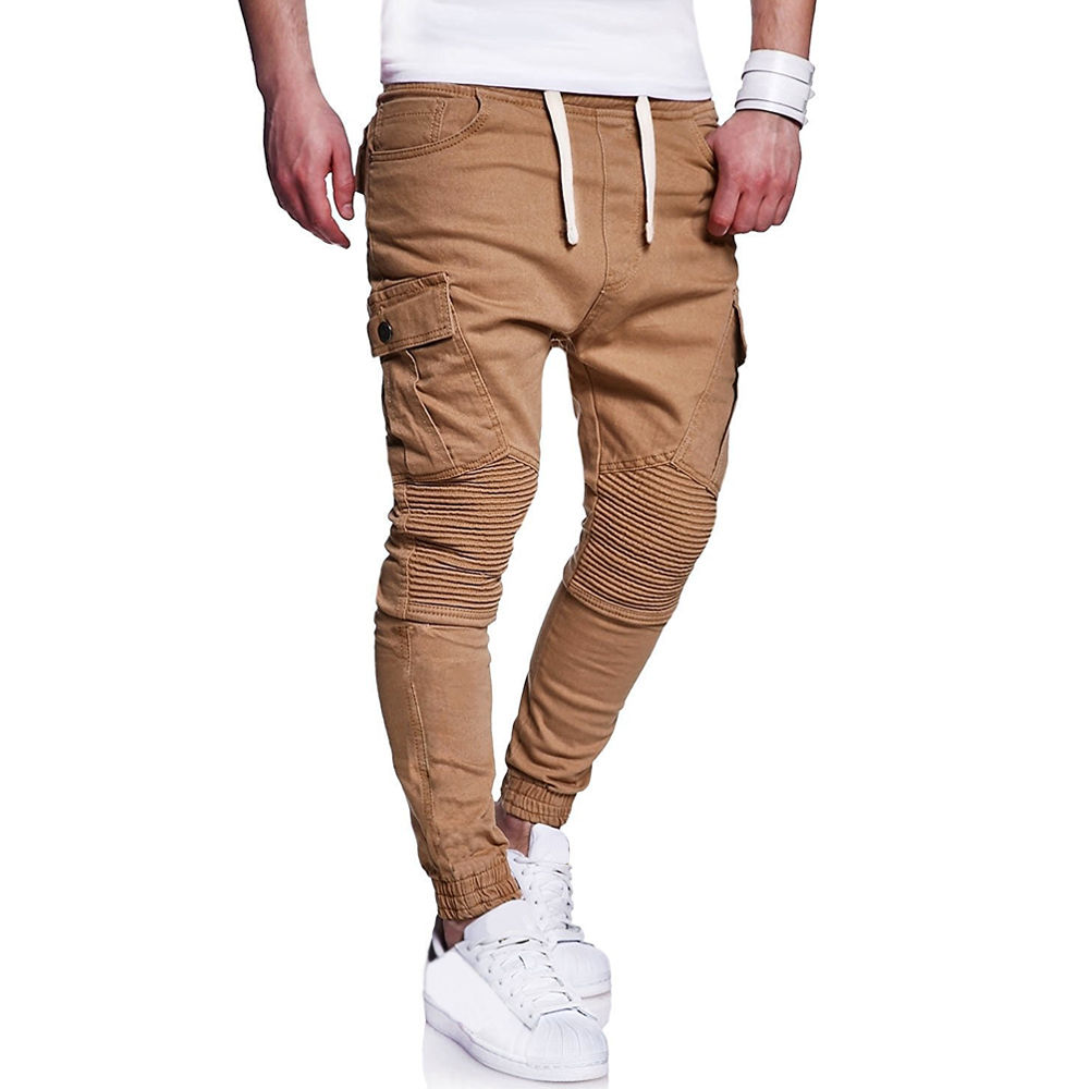 2019 New Fashion Brand Men 39 s Pants Slim Solid Color Men Casual Pants Man Fold Khaki Mens Joggers large size in Skinny Pants from Men 39 s Clothing