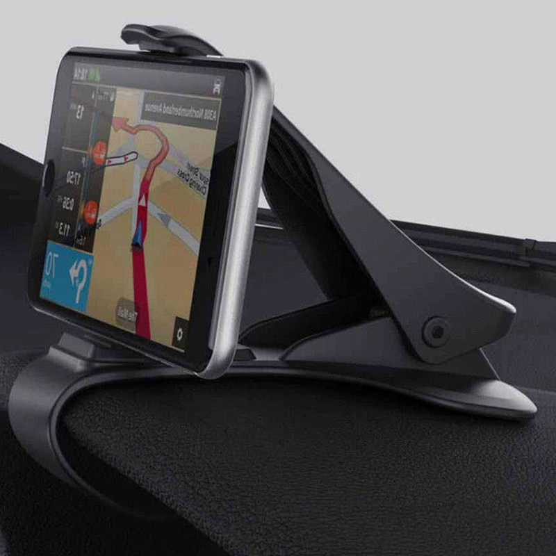Car GPS Navigation Dashboard Phone Holder for Universal Mobile Phone Clip Fold Black Car Phone Holder Stand Bracket for iPhone 7(China)