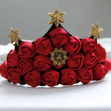 New Arrival Queen Wedding Head Wreath Tiara for Women Bride Party Jewelry Red Rose Star Crown Fashion Charming Hairbands FD-78