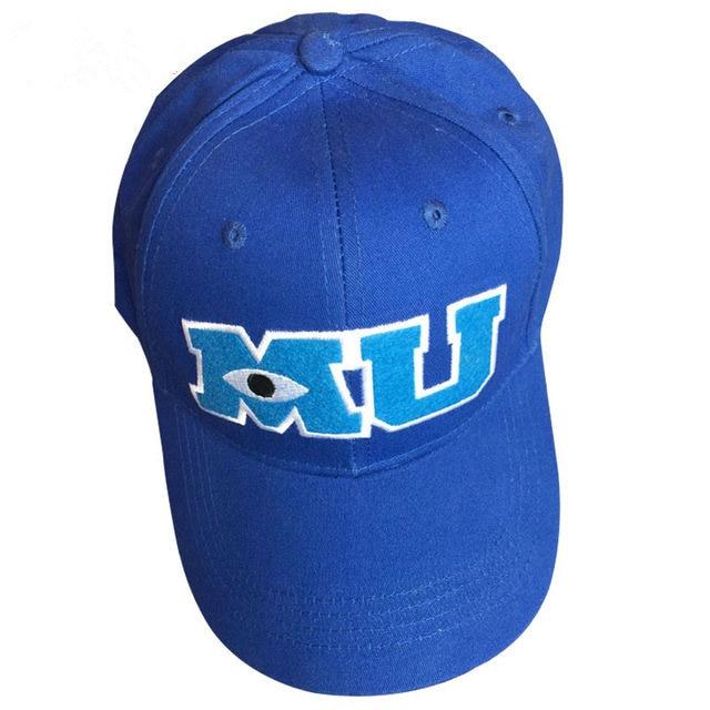 b23c28264738cc Monsters University Sulley Mike Baseball Caps MU Letters Unisex Pixar Movie  Blue Hat Adjustable Hip Hop