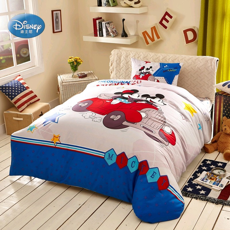 US $59.99 30% OFF|Disney Blue Mickey Mouse and Minnie Bedding Set Children  Bedroom Decor 100% Cotton Bedsheet Duvet Cover Set 3/4pcs 1.2m,1.5m Bed-in  ...