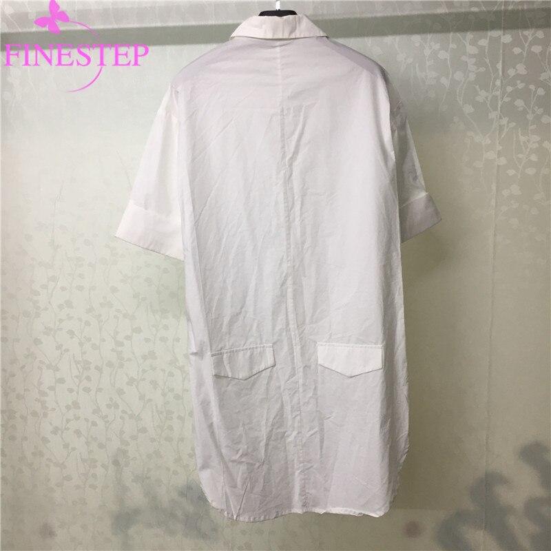 100% coton blanc Blouse femmes mode bureau dame crantée lâche Blouse haute qualité femmes coton Blouse - 2