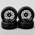 4Pcs 1:10 RC Touring Car Wheel Asymmetric Tread Groove RubberTire PP0150+BBNK