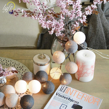 Lyfs, Таиланд, хлопковый шар, серый фонарь, гирлянда, праздничные огни, гирлянда, романтическое украшение для спальни, лампа
