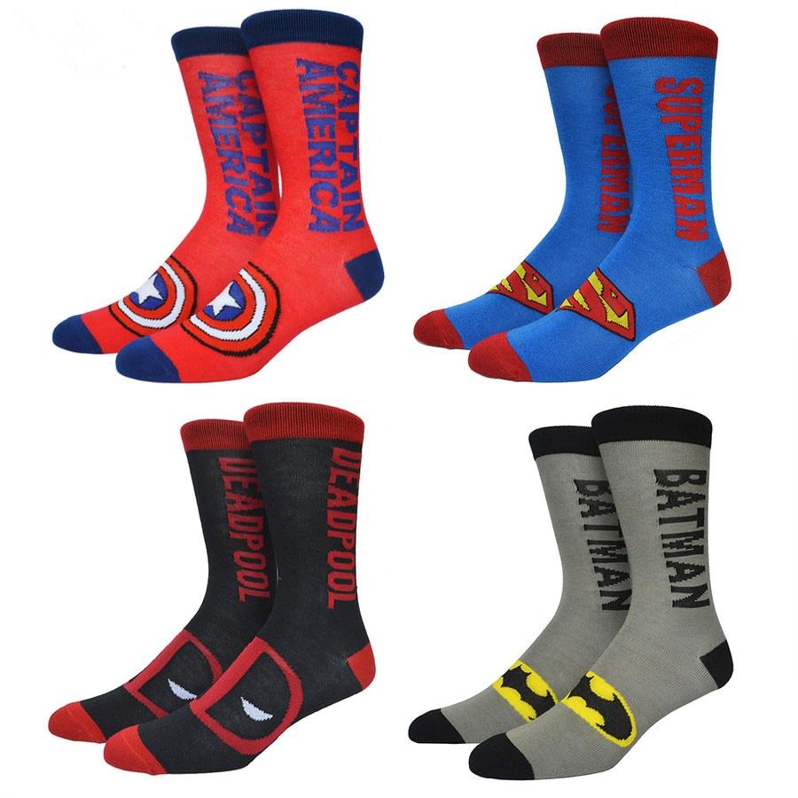 The Avenger Deadpool Punisher Batman Superman Socks American Captain Cotton Fashion Casual Men Socks Summer Skateboard Sox