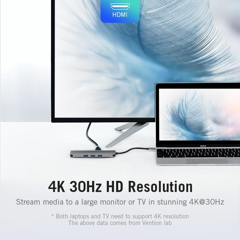Vention USB-C HUB Type C HUB to USB 3.0 Thunderbolt 3 HDMI 3.5mm Audio RJ45  Adapter for MacBook Pro Samsung Galaxy S9 USB C HUB