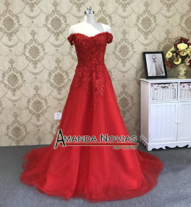 Image 2 - Amanda Novias Straps Lace Up Back Red Wedding Dress With Detachable Train 2019