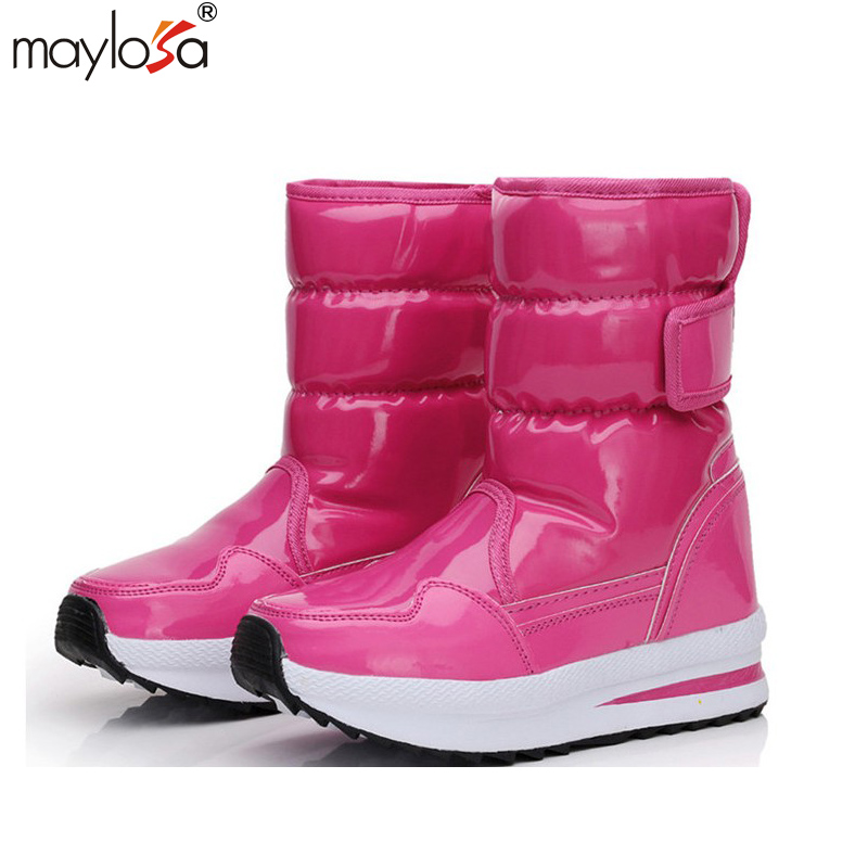 MAYLOSA women Snow Boots Solid Slip On Soft waterproof thick warm cotton boots woman Round Toe
