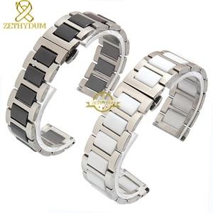 Image 3 - קרמיקה צמיד ב נירוסטה רצועת השעון שעון רצועת נשים גבר שעוני יד להקת 12 14 16 18 20 22mm לבן פרפר אבזם