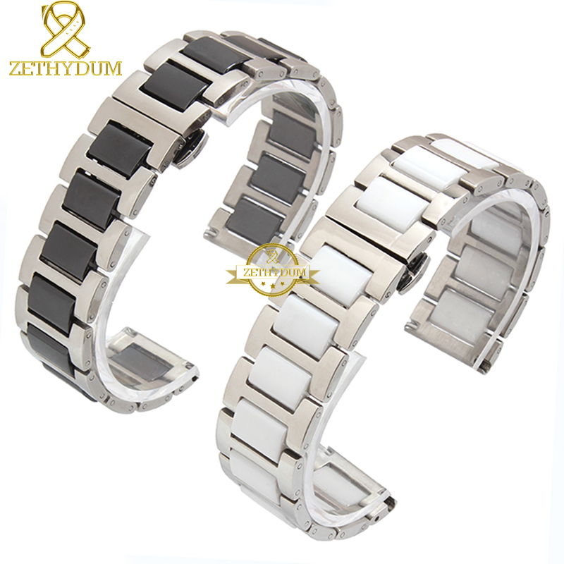 Image 2 - Ceramic bracelet in stainless steel watchband watch strap women man wristwatches band 12 14 16 18 20 22mm white Butterfly buckle-in Watchbands from Watches