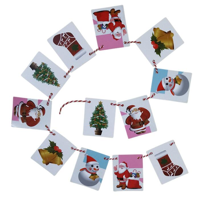 12pcs sets Christmas pull flag small hanging flag Kindergarten shop atmosphere layout Christmas decoration banner in Banners Streamers Confetti from Home Garden
