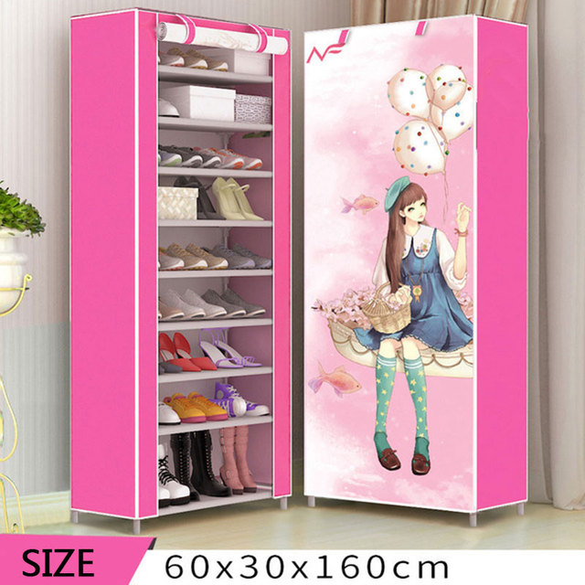 8 Layer 10 Layer Combination Shoe Cabinet Simple Cloth Fabric Storage Shoes Rack Folding Dust-proof Shoe Shelf DIY Furniture 5