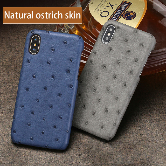 reputable site fbcf1 8324e US $53.5 12% OFF Genuine Leather phone case For iPhone X case Natural  Ostrich Skin phone shell For iPhone SE 5 5S 6 6S 7 8 Plus X cases cover-in  ...