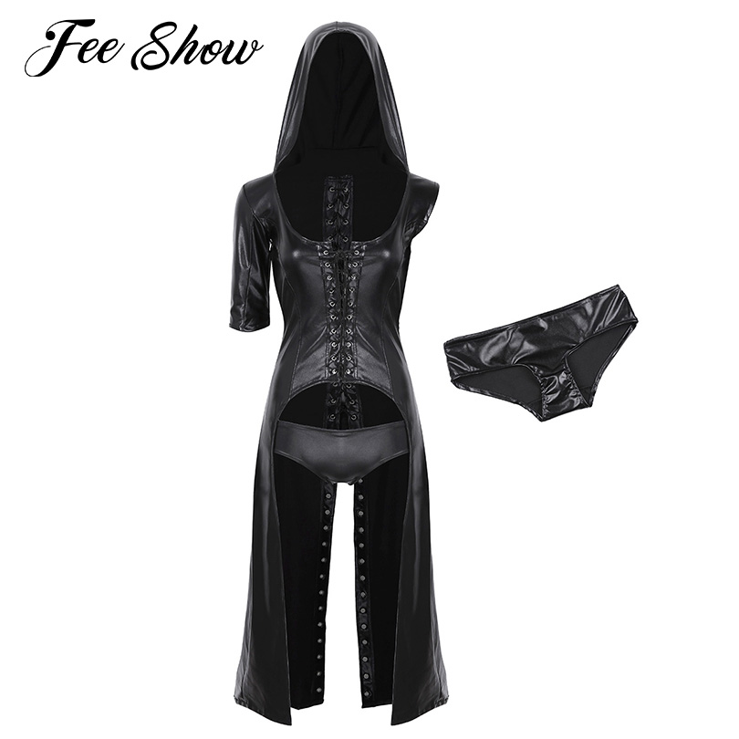 Exotic Apparel Brilliant Trymeon Sexy Lingerie Plus Size Black Nightgown Intimates Women Erotic Latex Pu Leather Mesh Skinny Dresses