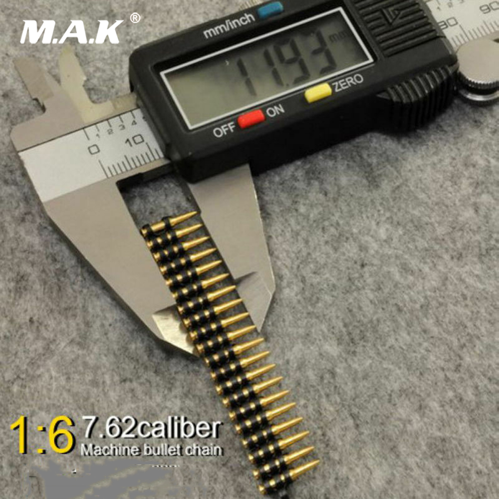 1/6 Scale Figure Gun Model Accessory 50pc 7.62 Caliber Bullet Chain Ammunition Belt Model Toys For MG3 Machine Gun