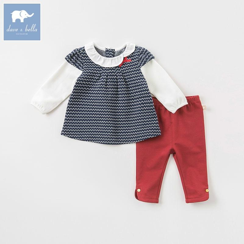 DB8495 Dave Bella Осень детская модная одежда для девочек милые длинные рукава костюмы детская одежда с принтом