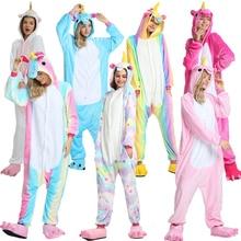 Winter Adults Animal Kigurumi Pajamas Sets Sleepwear Cosplay  Women Men Unisex unicornio Stitch Cartoon Unicorn 2019 New
