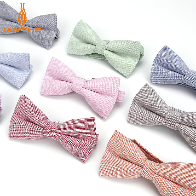 Brand New Men Bow Tie Cotton Kids Casual Butterfly Cravat Red Blue Pink Solid Bowtie Tuxedo Bows Male Parents Chlidren Butterfly