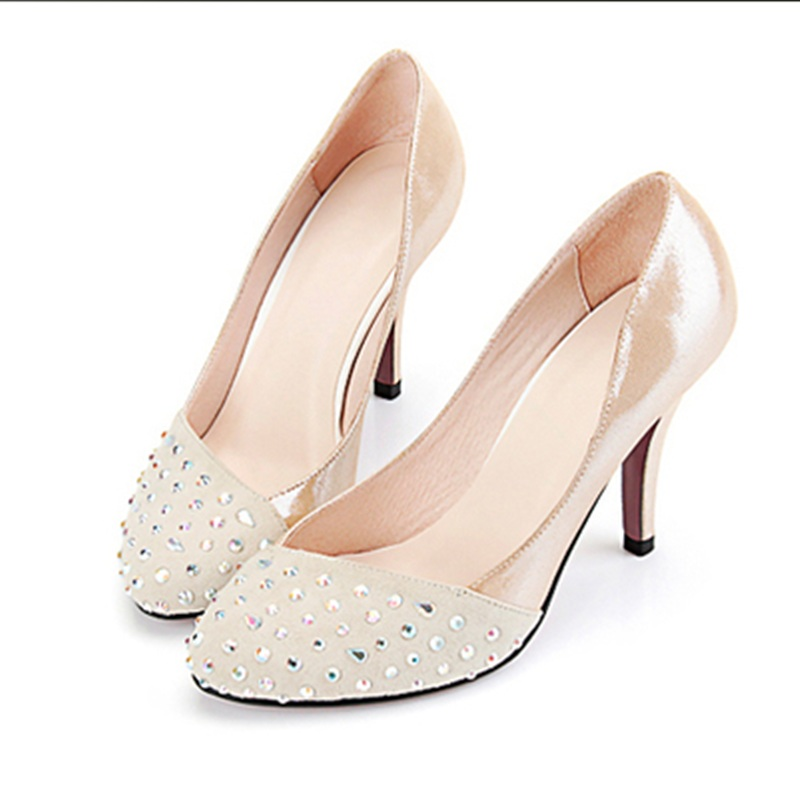 ФОТО Lady Plus Size 35-46 Elegant Customized Luxury Diamond Round Toe Genuine Real leather High Heels Shoes Women Pumps Party Wedding