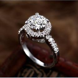 2CT czyste złoto 585 okrągły Halo inteligentny diament kobiety pierścionek zaręczynowy czystego białego złota 14K wieczne jakości