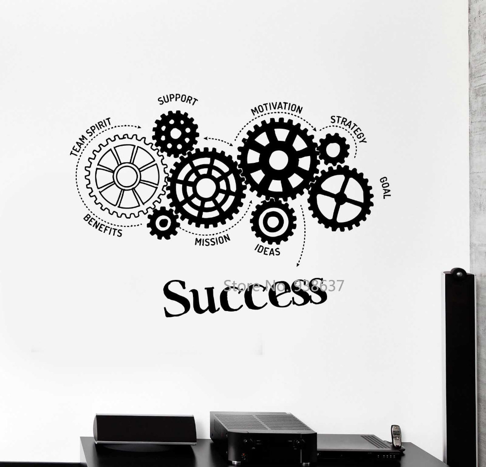 Quotes Vinyl Wall Decal Success Words Gears Office Motivation Removable Art Stickers Inspirational Wall Sticker for Office ZB465