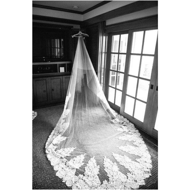 Length Bridal Veils Huge Lace Applique Tulle Long Wedding Veil free shipping velos de novia