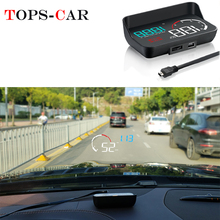 GEYIREN OBD2 HUD Windshield Projector Water temperature Overspeed RPM Voltage Alarm M10 Head up display For Car