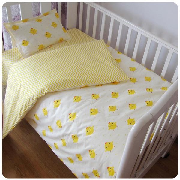 3PCS baby nursery Cotton Baby Cot Bedding kit berco Newborn Cartoon Crib Bedding Detachable ,(Duvet Cover/Sheet/Pillow Cover)
