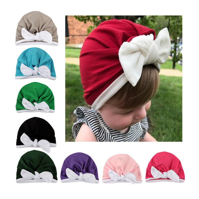 Newborn Solid Colors Cotton Baby Cloth Turban Toddler Contrast Lace Cute Rabbit Ears Hat