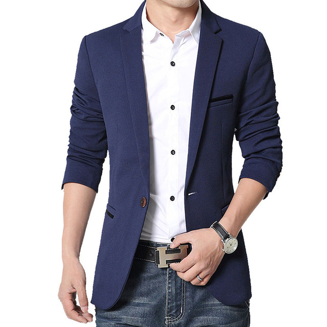 Brand Mens Casual Blazers Autumn Spring Fashion Slim Suit Jacket Men Blazer Masculino Clothing Vetement Homme M~5XL HF1415 2