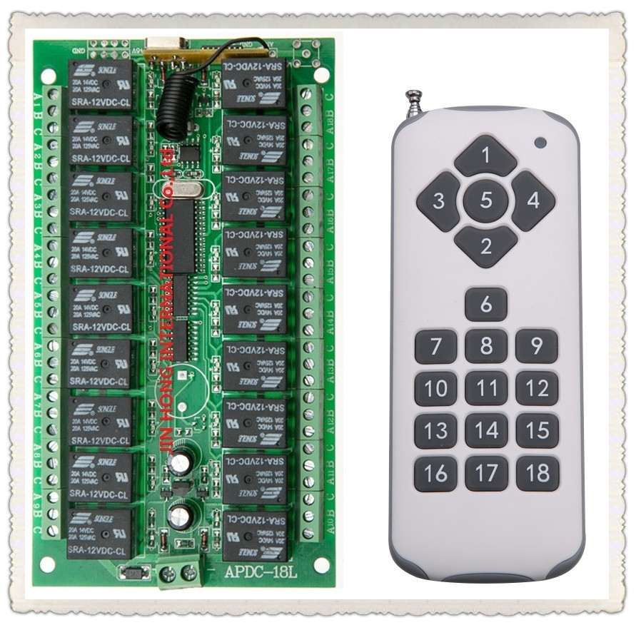 New 1000m Long Range Dc12v 18ch 18channe Rf Wireless Remote Control Circuit Board Garage Door 315 433mhz Switch System 1 X Transmitter Receiver315 433 Mhz