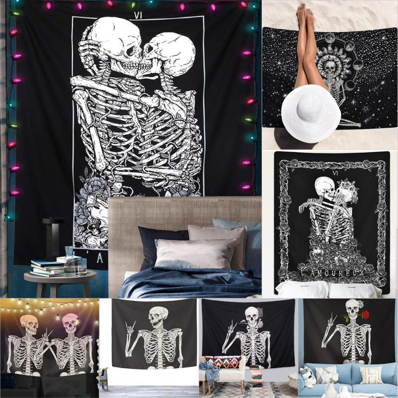 Skull Printed Tapestry Wall Hanging Blanket Yoga Mat for Women Beach Towel Bedroom Decoration Art Painting