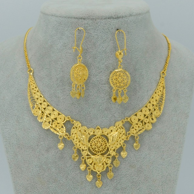 Turkey Necklace Earrings Dubai Jewelry sets Arab - Gold Plated Egypt/Middle East/African/Israel/Africa/Nigeria/Haiti #008512