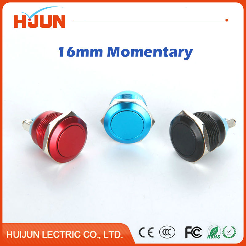 1pcs 16mm Waterproof Momentary Flat Round Stainless Steel Metal Push Button Switch Car Start Horn Bell Red Black Blue Auto Reset 1 x 16mm od stainless steel push button switch flat round screw terminals