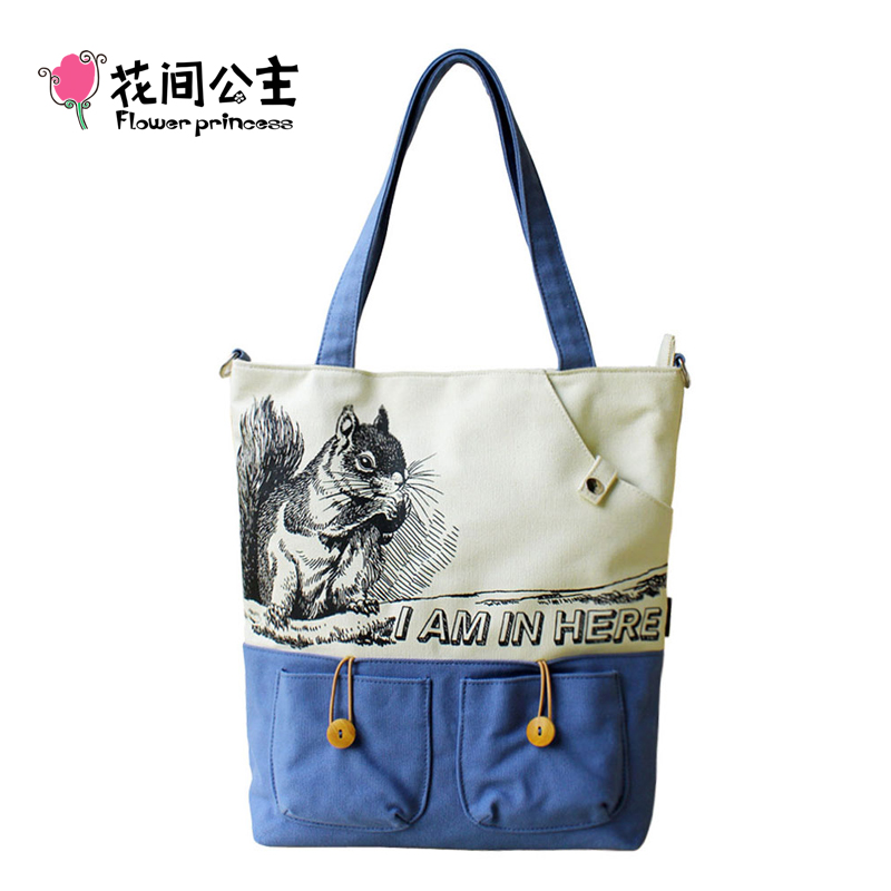 Flower Princess Brand Girl Casual Large Tote Bag Handbags Women Girls Vintage Shoulder Crossbody Bag Ladies Squirrel Printed forudesigns casual women handbags peacock feather printed shopping bag large capacity ladies handbags vintage bolsa feminina