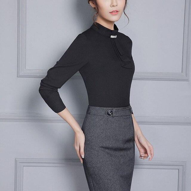 94e422e360aa1 Women Blouse OL Formal Long Sleeve Shirt Female Office Black Plus Size  Stand Collar Work Wear Tops Lady Blusas Bow Tie Necktie