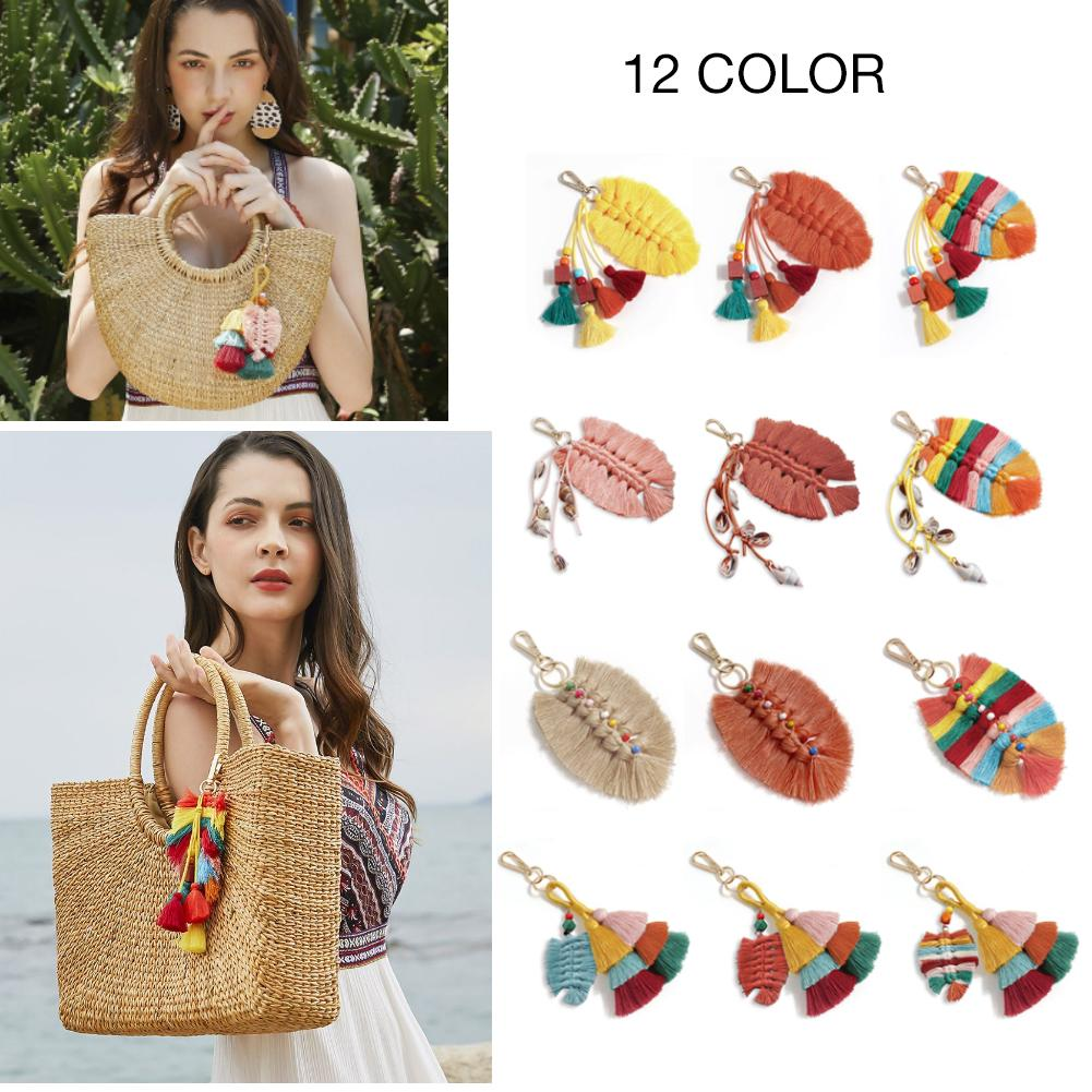Ethnic Fashion Style Bag Ornament Keychain Handmade Cotton Woven Tassel Pendant Leaves Wooden Beads Conch Shell Bags Ornaments