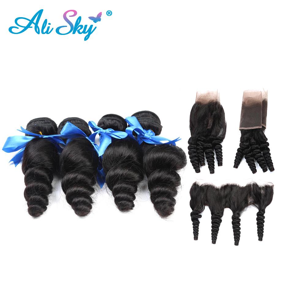 Indian Loose Wave 3 Bundles with Lace Frontal Closure Human Hair Bundles with Closure Ali Sky Hair Weave Non-Remy Hair 4pcs/lot