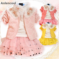 Anlencool Sale Rushed Roupas Meninos Free Shipping Brand Children's Clothing Dress Suit Baby Girl Sets Girls Spring Clothes set