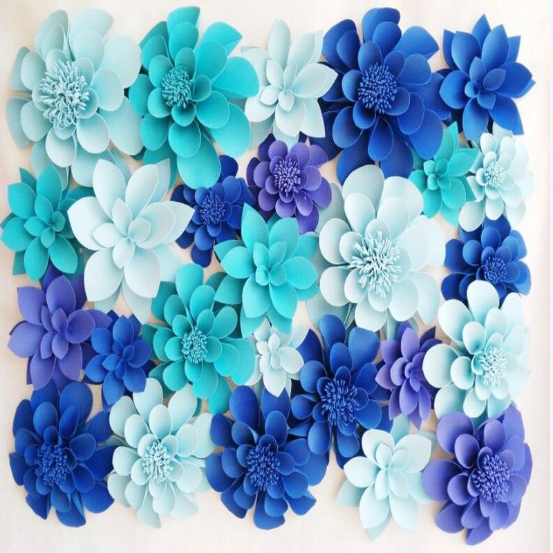 전체 벽 거 대 한 거품 종이 꽃 믹스 30-50CM 창 디스플레이 웨딩 사진 스튜디오 배경 장식 단계 소품
