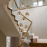 Staircase Golden Long Pendant Lamp Living Room Dining Room Modern Light Villa Middle Building Rotating Glass Ball Pendent Lights