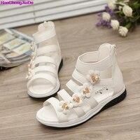 Haochengjiade夏スタイル子供サンダル女の子のファッション王女美しい花靴子供フラットサン