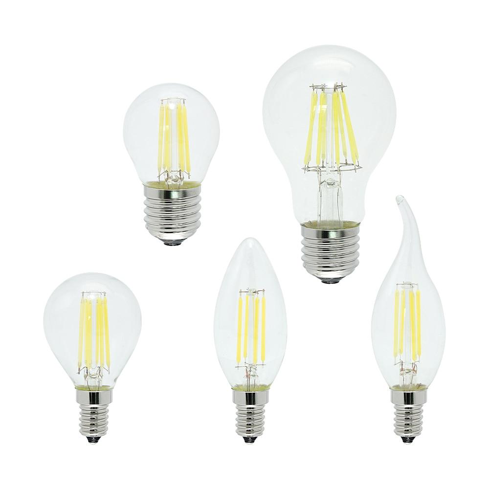 Dimmable 2W 4W 6W 8W Antique Retro Vintage Lamp LED Filament Light Bulb E27 E14 220V Glass Bulbs Candle Lights