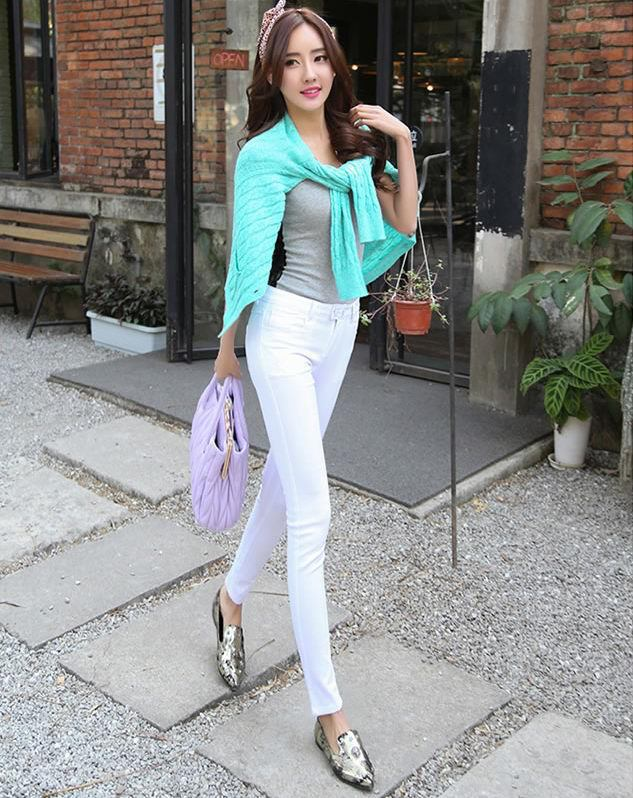 07e6c4914a7 New 2014 Spring Summer Fashion Lady slim Legging Casual White Jeans Female  High Waist Pencil Trousers Stretch Cotton Pant-in Pants   Capris from  Women s ...