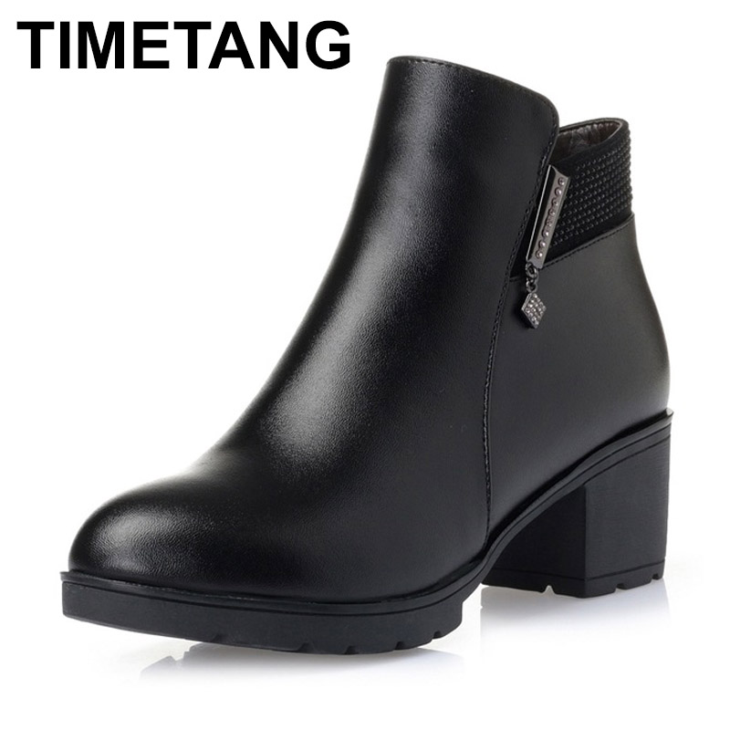 TIMETANG Fashion 2018 Women Fur Snow Boots Winter Warm Genuine Leather Platform Shoes Woman Ankle Boots Thick Heels Botas Mujer vtota martin boots women fashion women boots thick with ankle boots shoes woman botas mujer platform ankle boots for women d2