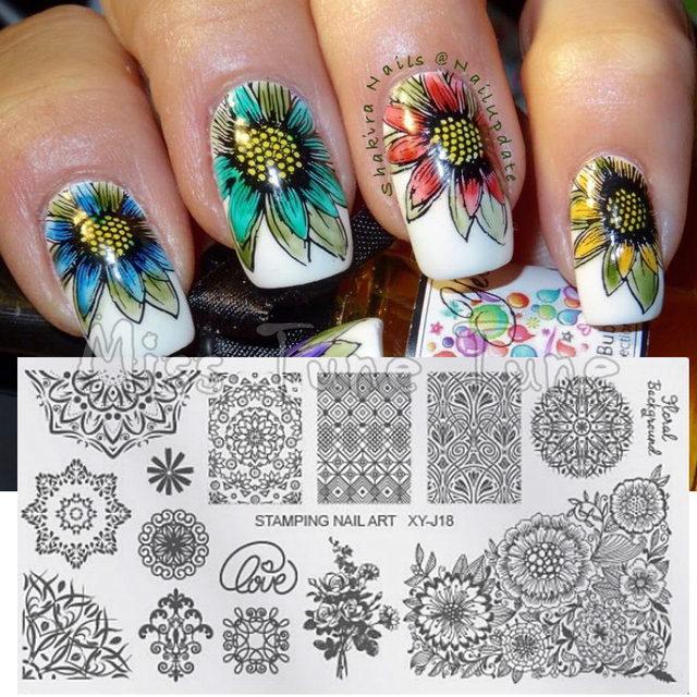 new flower nail art printing stamping template stamp plates image