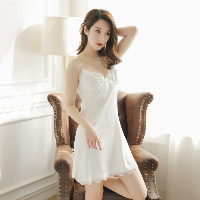Women   nightgowns     sleepshirts   Silk   Nightgown   Womens Sexy Nightwear Padded Up Sleep Dress Women Sleep Dress Women Ropa De Dormir