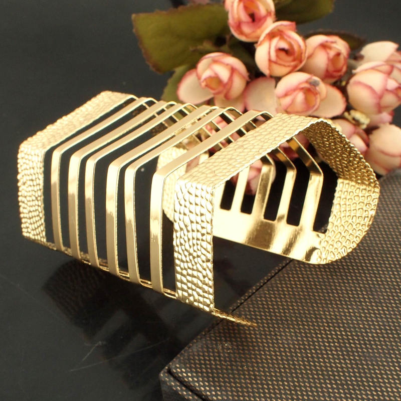UKMOC Bracelets Jewelry Fashion Gold Color & Silver Color Opened Square Cuff Bangles For Women Dress Bijoux Accessories B370