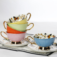 European Bone China Coffee Cups And Saucers Set Porcelain China Porcelain Cups British Office Drinks 220ML