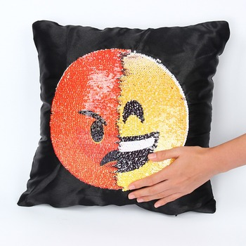 Sequin Emoji Cushion Cover Pillow Cases Changing Face Decorative Unique Decorate Pillow Cases